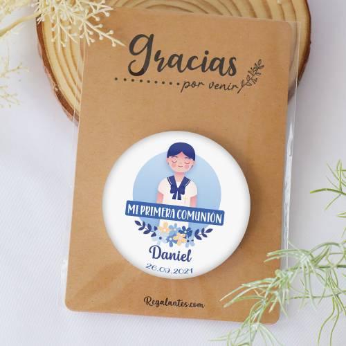 Chapa personalizada con espejo modelo Daniel detalles comunión - Chapas Espejos Personalizados Comunión