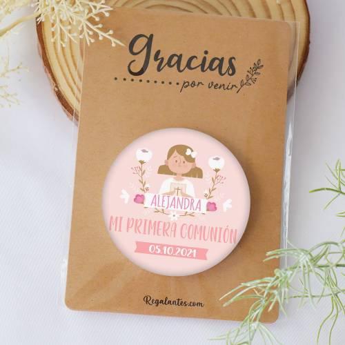 "Chapa personalizada con espejo ""Alejandra"" detalles comunión - Chapas Espejos Personalizados Comunión"