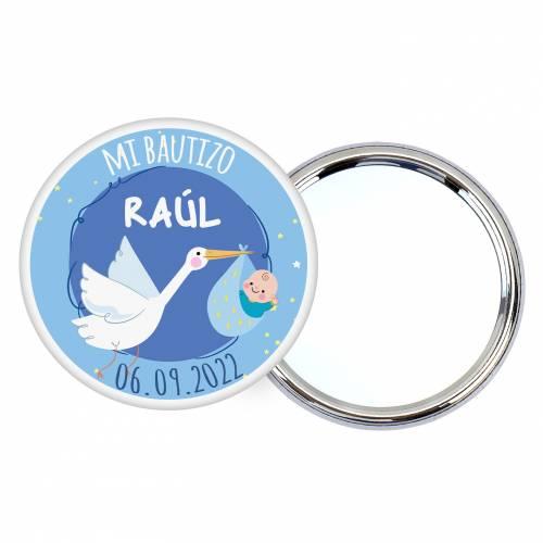 Chapa personalizada con espejo modelo Raúl detalles bautizo - Chapas Espejos Personalizados Bautizo