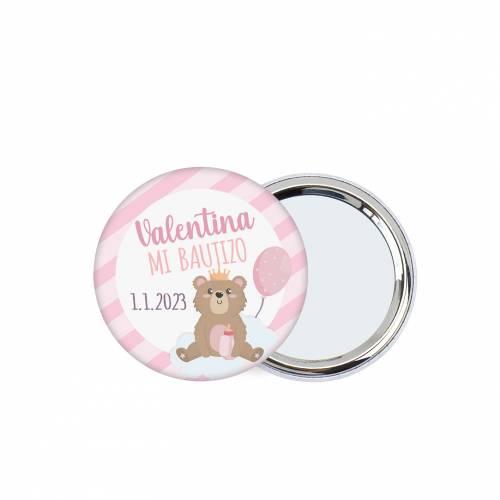 """Chapa con espejo personalizada """"Valentina"""" detalles bautizo - Chapas Espejos Personalizados Bautizo"""