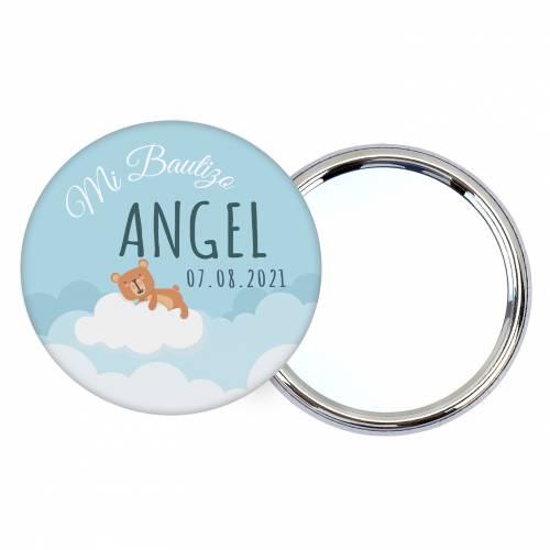 Chapa personalizada con espejo modelo Nube detalles bautizo - Chapas Espejos Personalizados Bautizo