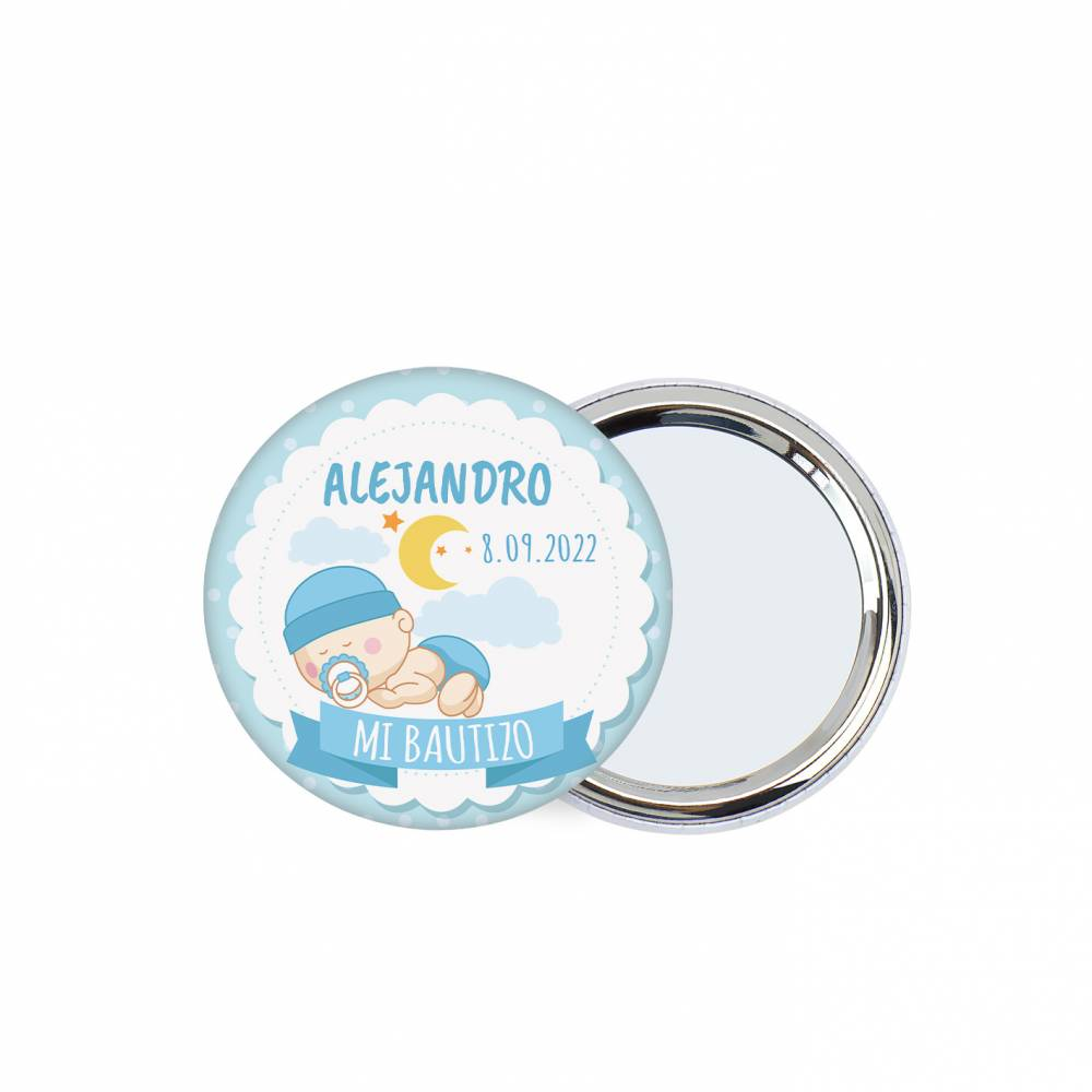 Chapa personalizada con espejo modelo Dulces sueños detalles bautizo - Chapas Espejos Personalizados Bautizo