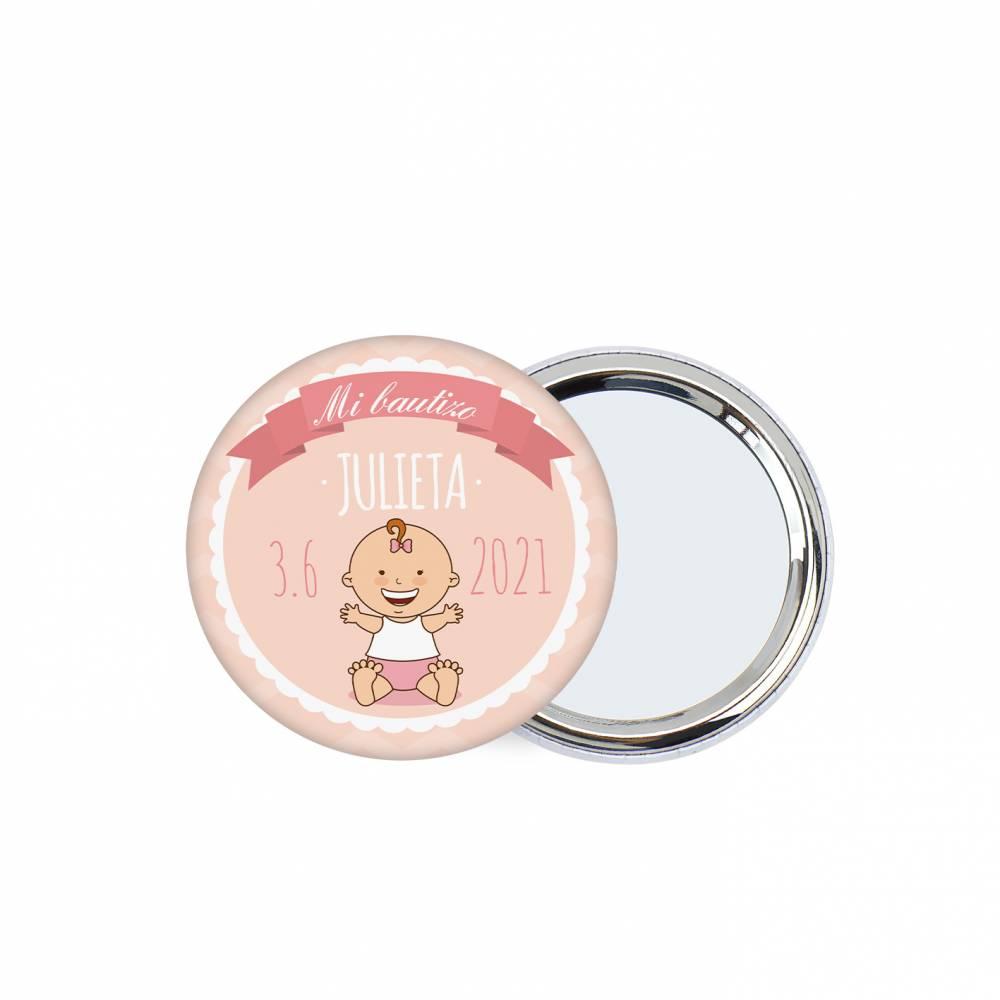 Chapa personalizada con espejo modelo Galleta detalles bautizo - Chapas Espejos Personalizados Bautizo