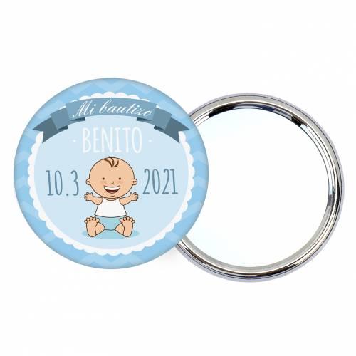 Chapa personalizada con espejo modelo Olas detalles bautizo - Chapas Espejos Personalizados Bautizo