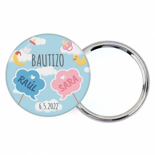 Chapa personalizada con espejo modelo Mellizos detalles bautizo - Chapas Espejos Personalizados Bautizo