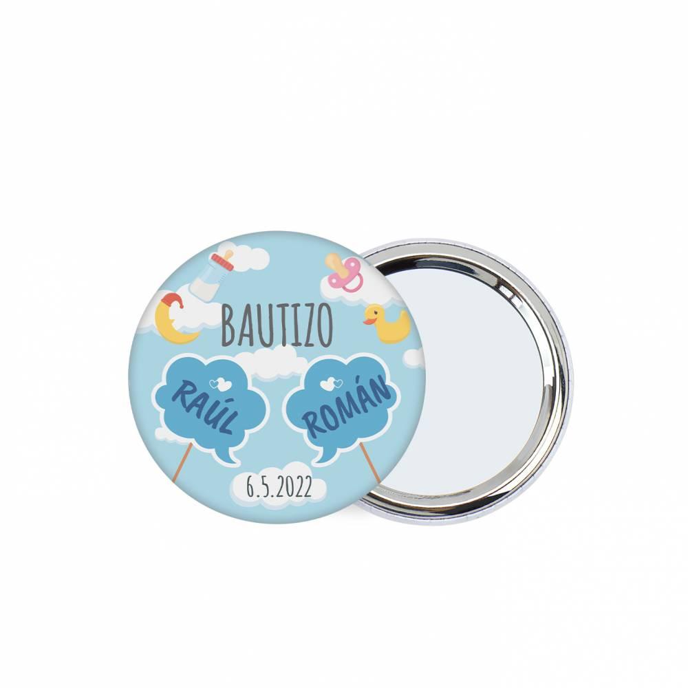 Chapa personalizada con espejo modelo Gemelos detalles bautizo - Chapas Espejos Personalizados Bautizo