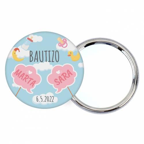 Chapa personalizada con espejo modelo Gemelas detalles bautizo - Chapas Espejos Personalizados Bautizo