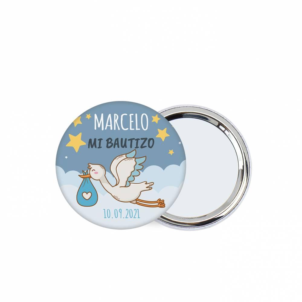 Chapa personalizada con espejo modelo Noche detalles bautizo - Chapas Espejos Personalizados Bautizo