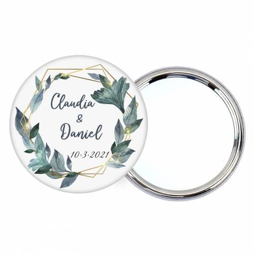 """Chapa personalizada con espejo """"Diana"""" detalles boda - Chapas Espejos Personalizados Boda"""