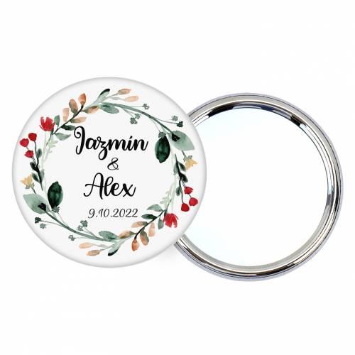 Chapa personalizada con espejo modelo Ágape detalles boda - Chapas Espejos Personalizados Boda