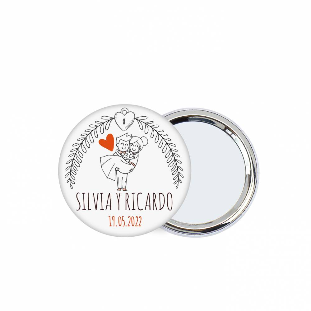 Chapa personalizada con espejo modelo Mañana detalles boda - Chapas Espejos Personalizados Boda