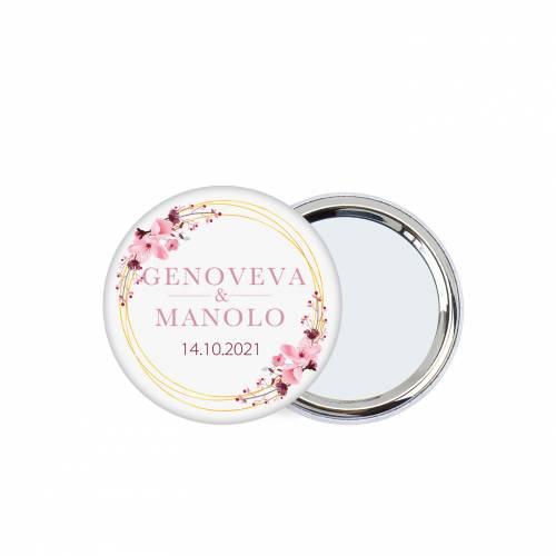 Chapa personalizada con espejo modelo Pink Crown detalles boda - Chapas Espejos Personalizados Boda