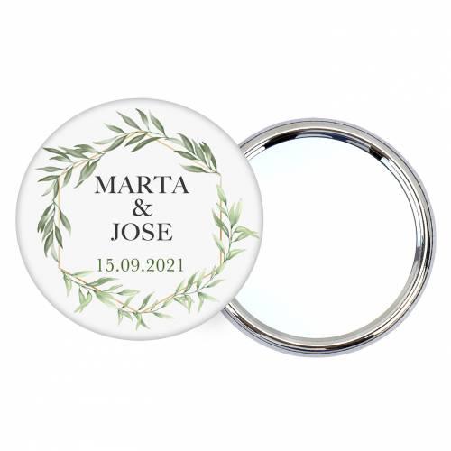 Chapa personalizada con espejo modelo Sun detalles boda - Chapas Espejos Personalizados Boda