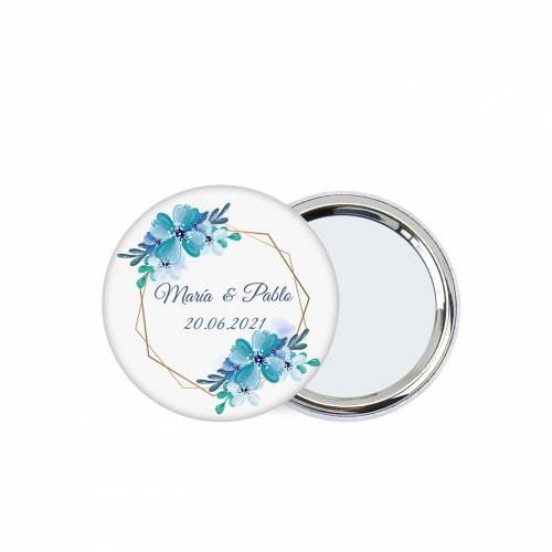 """Chapa personalizada con espejo """"Azul"""" detalles boda - Chapas Espejos Personalizados Boda"""