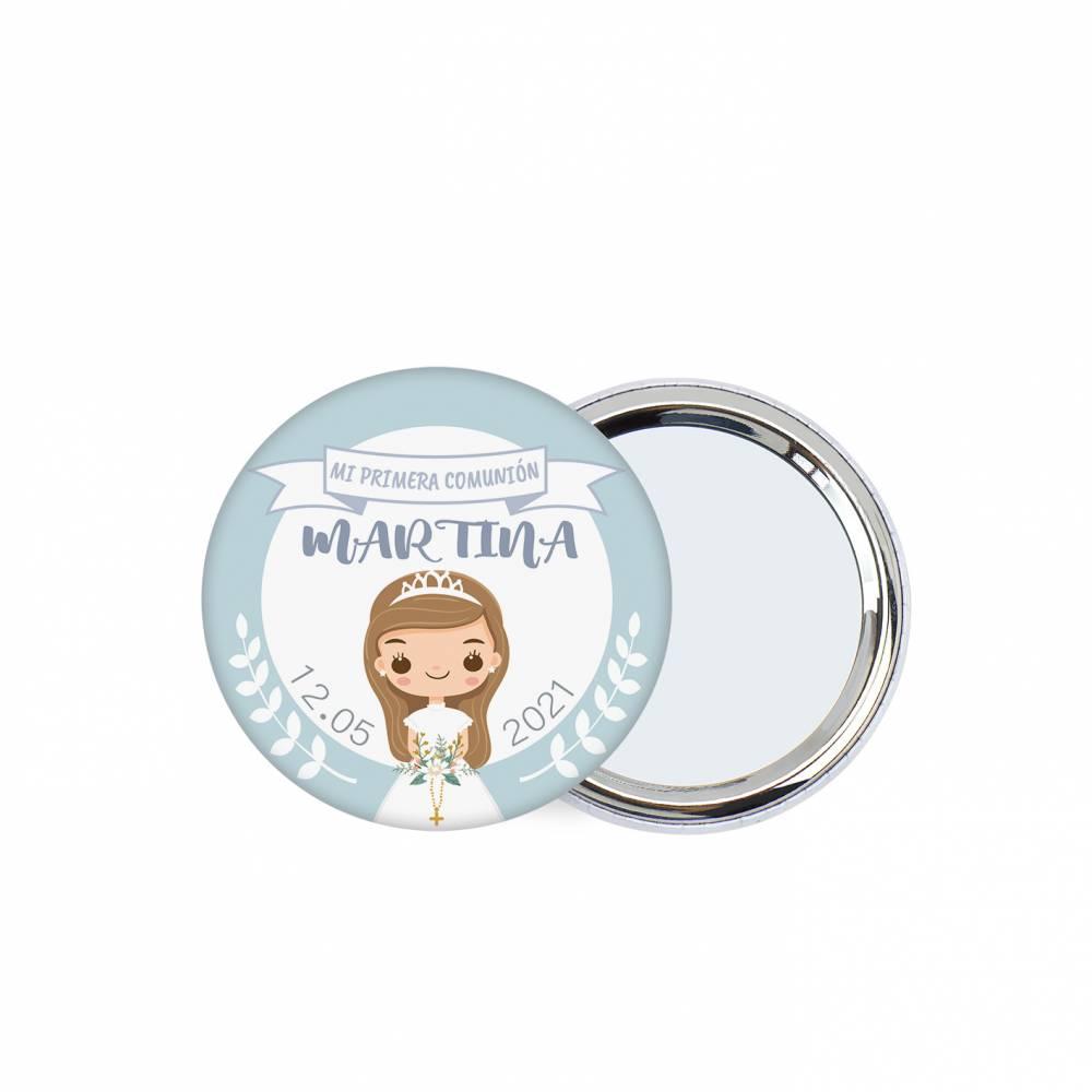 "Chapa personalizada con espejo ""Margarita"" detalles comunión - Chapas Espejos Personalizados Comunión"