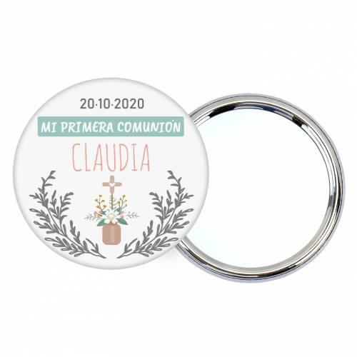 Chapa personalizada con espejo modelo Claudia detalles comunión - Chapas Espejos Personalizados Comunión