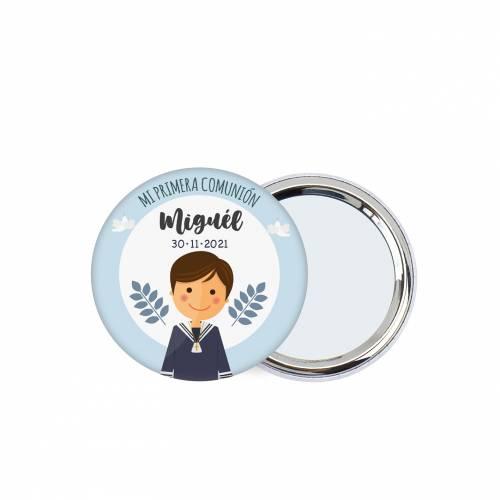Chapa personalizada con espejo modelo León detalles comunión - Chapas Espejos Personalizados Comunión