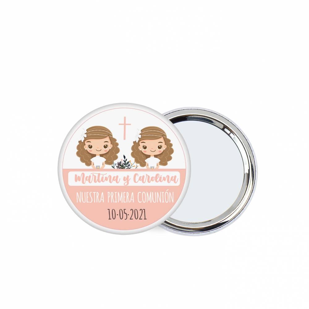 """Chapa personalizada con espejo """"Gemelas"""" detalles comunión - Chapas Espejos Personalizados Comunión"""