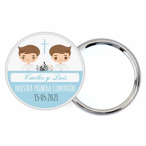"""Chapa personalizada con espejo """"Gemelos"""" detalles comunión - Chapas Espejos Personalizados Comunión"""