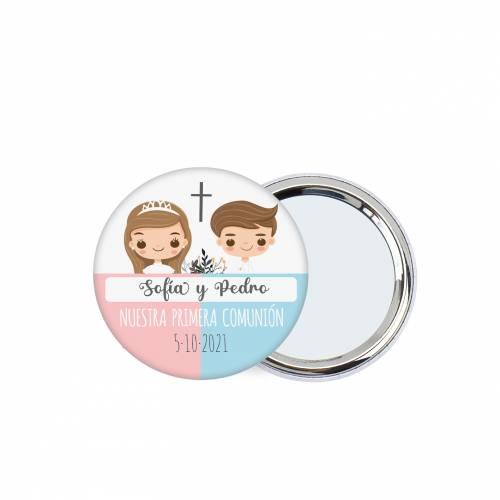Chapa personalizada con espejo modelo Mellizos detalles comunión - Chapas Espejos Personalizados Comunión