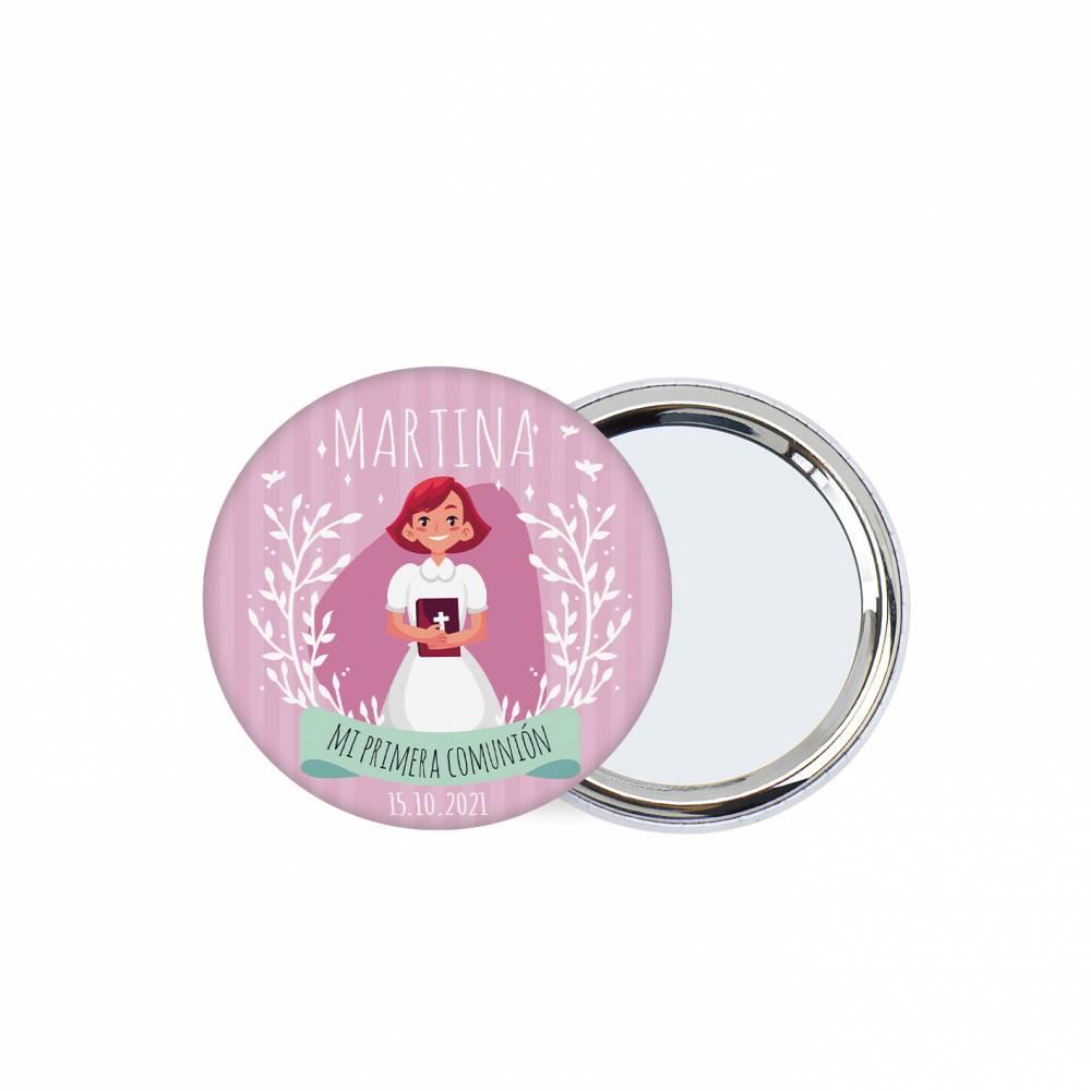 Chapa personalizada con espejo modelo Martina detalles comunión - Chapas Espejos Personalizados Comunión