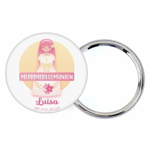 Chapa personalizada con espejo modelo Luisa detalles comunión - Chapas Espejos Personalizados Comunión