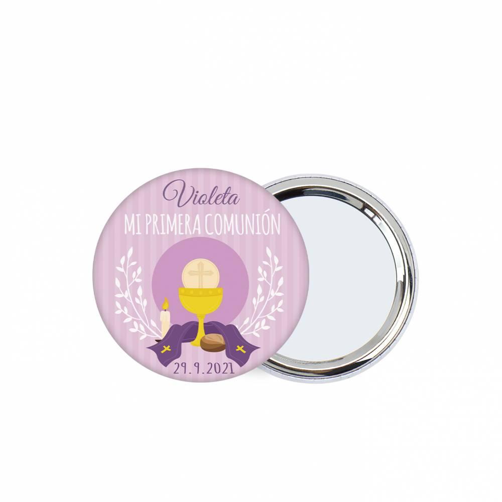 "Chapa personalizada con espejo ""Violeta"" detalles comunión - Chapas Espejos Personalizados Comunión"