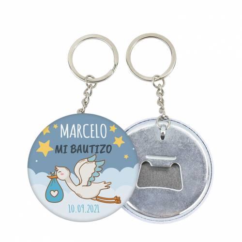 """Llavero de chapa abridor personalizado """"Noche"""" bautizo niño - Llaveros Abrebotellas Personalizados Bautizo"""