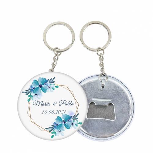 """Llavero de chapa abridor personalizado """"Azul"""" para boda - Llaveros Abrebotellas Personalizados Boda"""