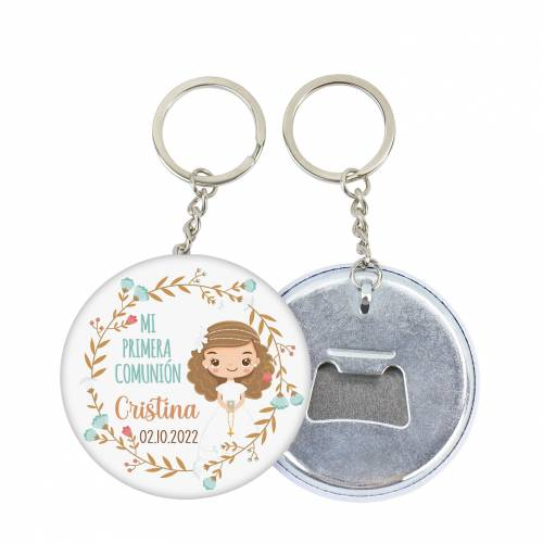 """Llavero de chapa abridor personalizado """"Cristina"""" para comunión - Llaveros Abrebotellas Personalizados Comunión"""