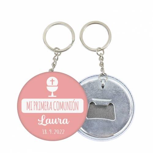 """Llavero de chapa abridor personalizado """"Laura"""" detalles comunión - Llaveros Abrebotellas Personalizados Comunión"""