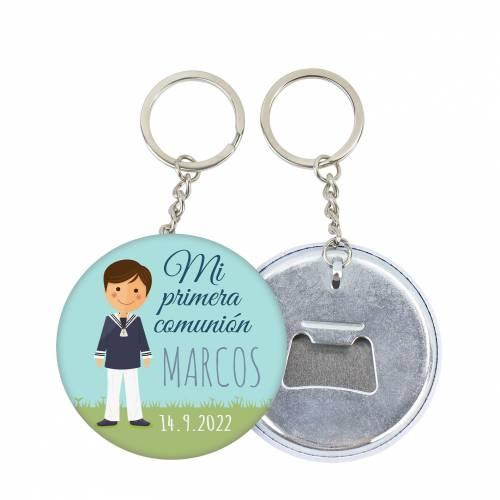 """Llavero de chapa abridor personalizado """"Marcos"""" detalles comunión - Llaveros Abrebotellas Personalizados Comunión"""