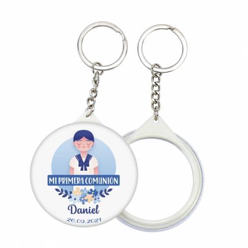 """Llavero con espejo y chapa personalizada """"Daniel"""" detalles comunión - Llaveros Espejos Personalizados Comunión"""