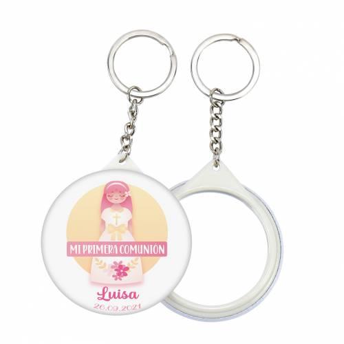 """Llavero con espejo y chapa personalizada """"Luisa"""" detalles comunión - Llaveros Espejos Personalizados Comunión"""