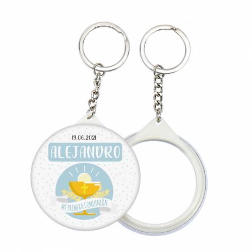 """Llavero con espejo y chapa personalizada """"Alejandro"""" detalles comunión - Llaveros Espejos Personalizados Comunión"""