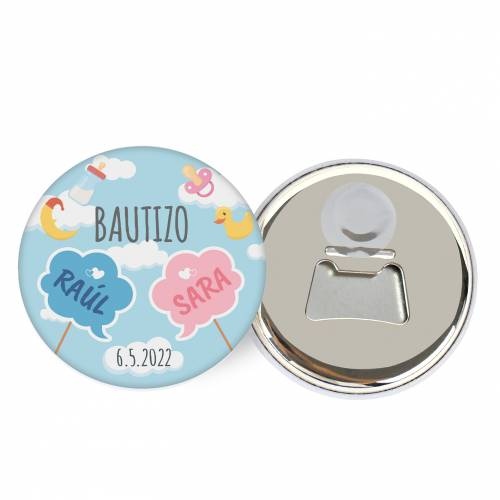 """Abridor con imán personalizado """"Mellizos"""" detalles bautizo - Abridor Imán Personalizado Bautizo"""