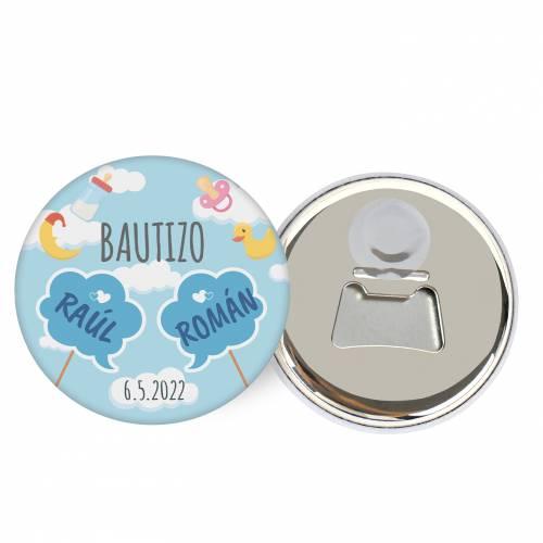 """Abridor con imán personalizado """"Gemelos"""" detalles bautizo - Abridor Imán Personalizado Bautizo"""