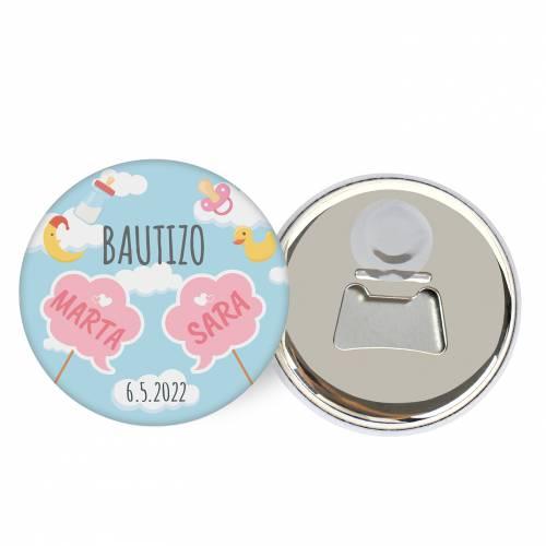 """Abridor con imán personalizado """"Gemelas"""" detalles bautizo - Abridor Imán Personalizado Bautizo"""