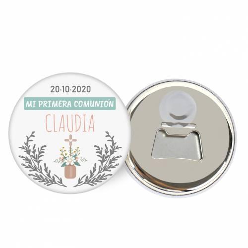 """Abridor con imán personalizado """"Claudia"""" detalles comunión - Abridor Imán Personalizado Comunión"""