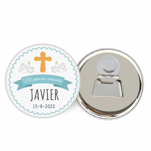 """Abridor con imán personalizado """"Javi"""" detalles comunión - Abridor Imán Personalizado Comunión"""