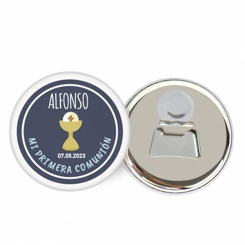 """Abridor con imán personalizado """"Alonso"""" detalles comunión - Abridor Imán Personalizado Comunión"""