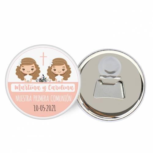 """Abridor con imán personalizado """"Gemelas"""" detalles comunión - Abridor Imán Personalizado Comunión"""