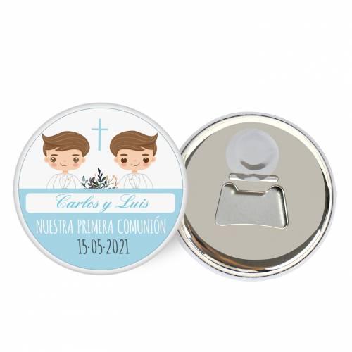 """Abridor con imán personalizado """"Gemelos"""" detalles comunión - Abridor Imán Personalizado Comunión"""