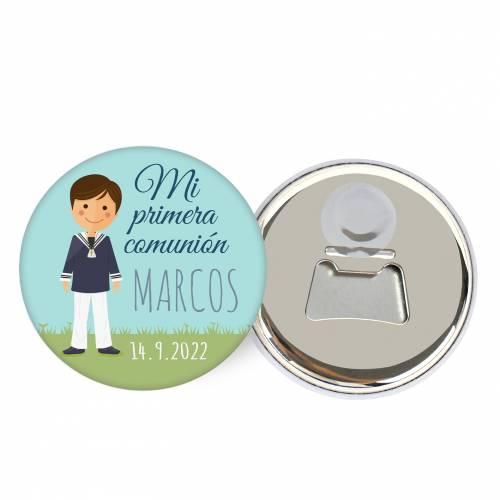 """Abridor con imán personalizado """"Marcos"""" detalles comunión - Abridor Imán Personalizado Comunión"""