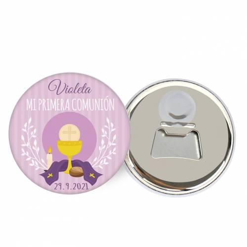 Abridor con imán personalizado modelo Violeta detalles comunión - Abridor Imán Personalizado Comunión