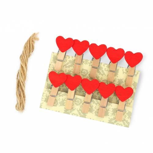 10 mini pinzas de madera con corazón rojo para decoración