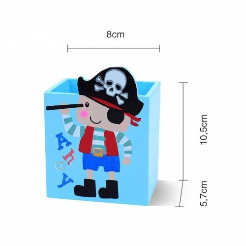 Portalápices de madera estilo piratas para detalles de cumpleaños