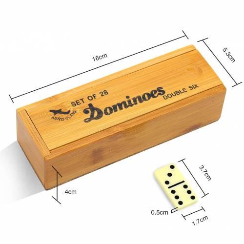 Dominó en caja de madera, juegos de mesa