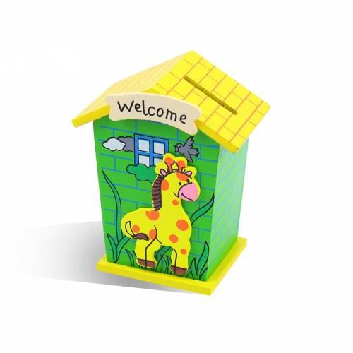 Huchas para niños de madera originales forma casita de animales