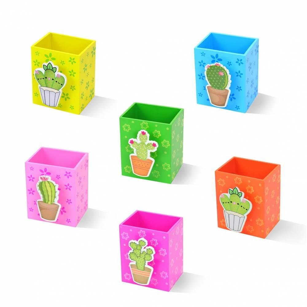 Portalápices de madera para niños varios colores cactus para regalar